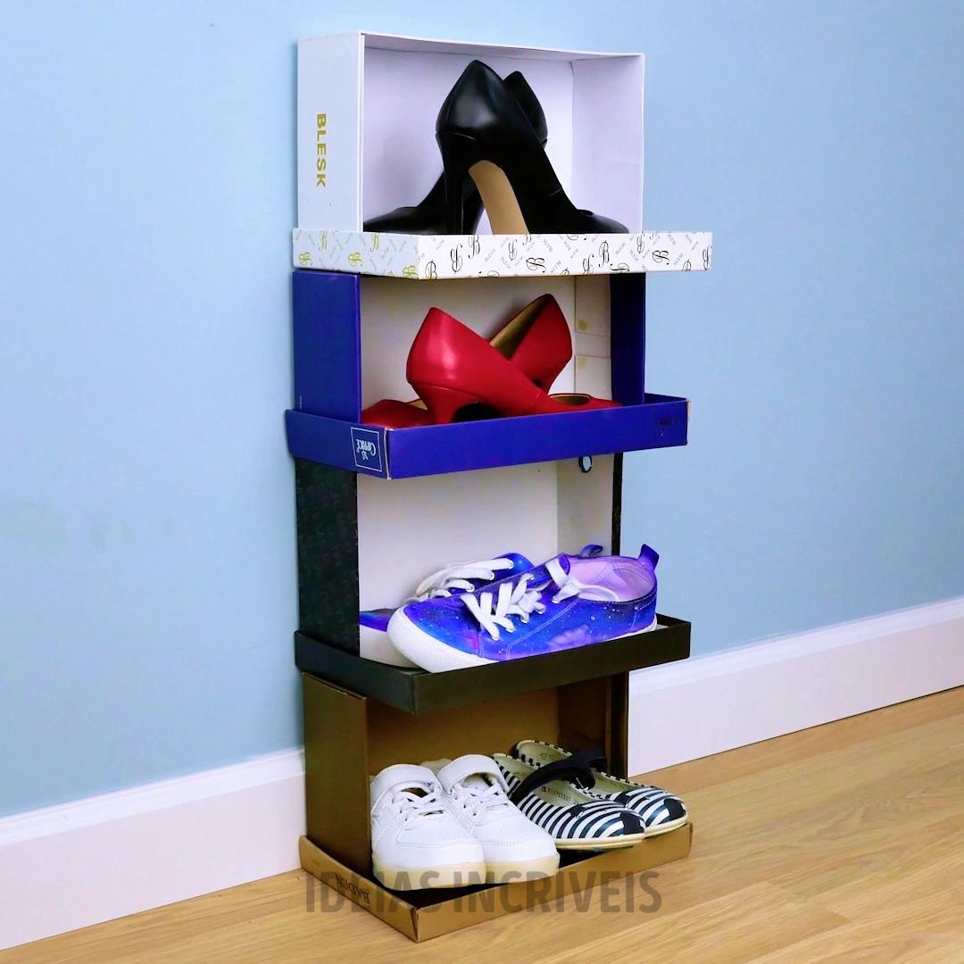 Nao Jogue Fora Suas Caixas De Papelao En 2020 Con Imagenes Reciclar Cajas De Zapatos Caja De Zapatos Organizador De Zapatos