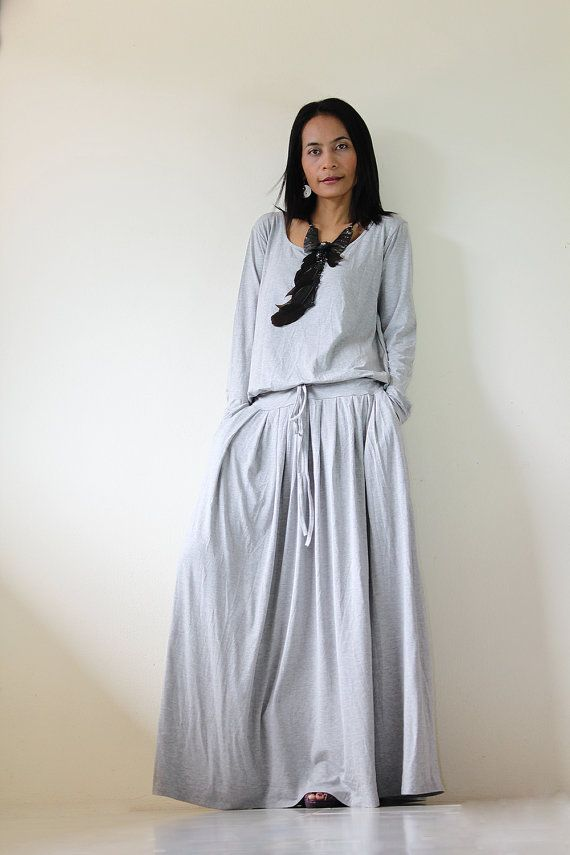 db2d7942f6d8c6 Women's long sleeve grey maxi Dress with pockets, handmade light ...