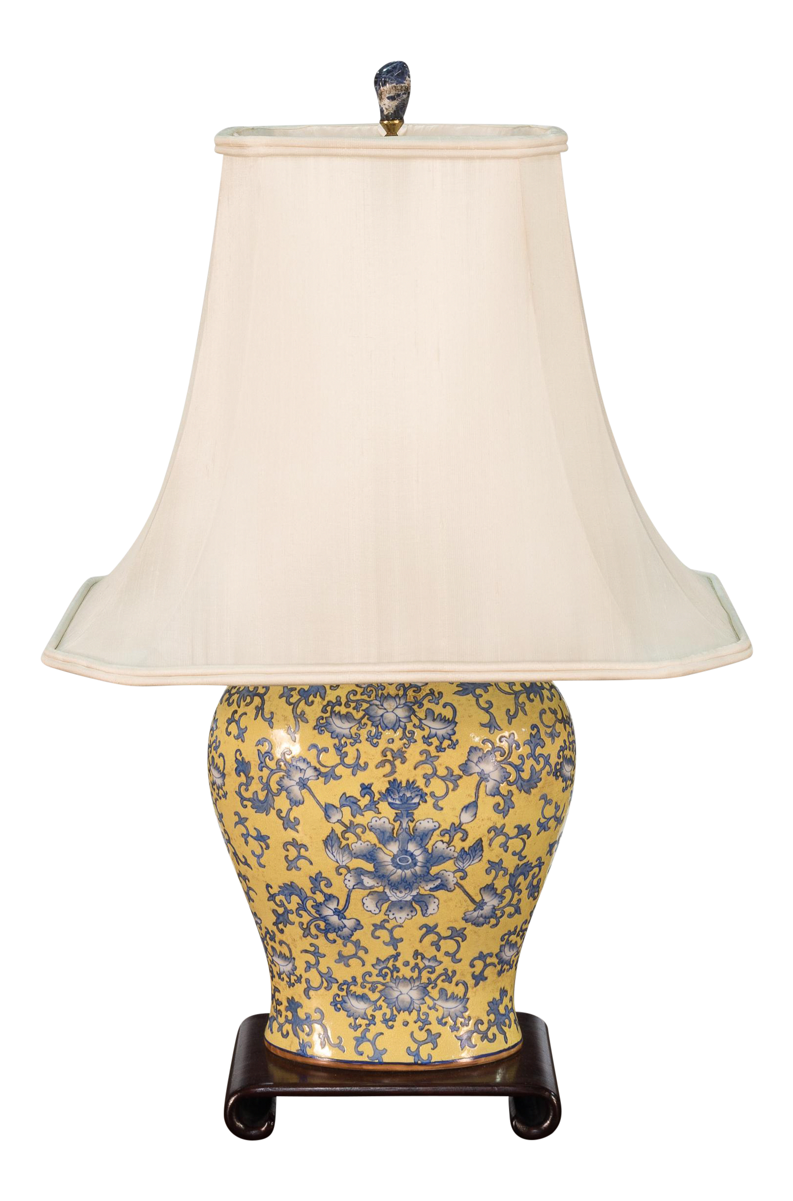 """Blue and White Floral Porcelain Oval Scallop Ginger Jar Table Lamp 22/"""" …"""