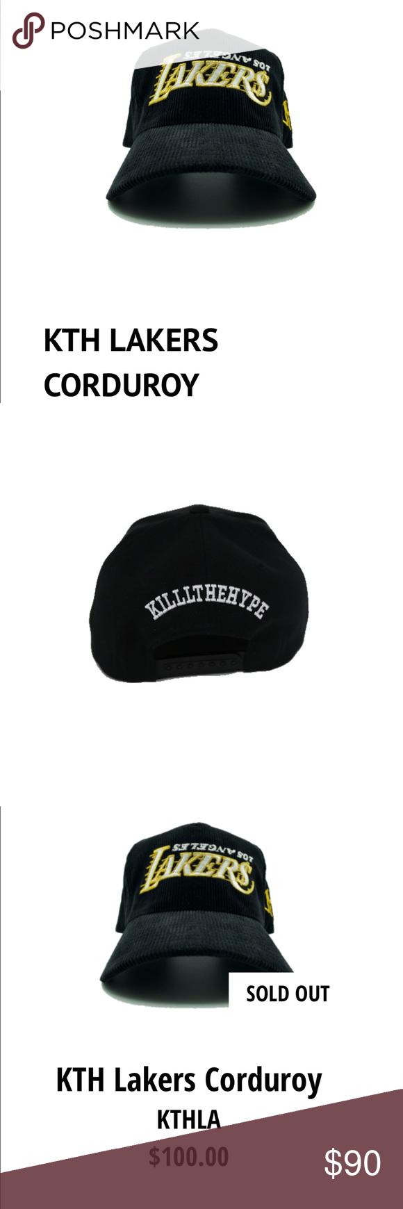 Lakers Kth Upside Down Los Angeles Hat Black Corduroy Lakers Logo Hats