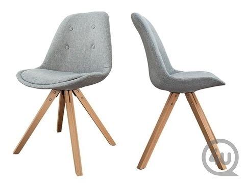 Design eetkamerstoel astra grijs stof hout eetkamerstoelen