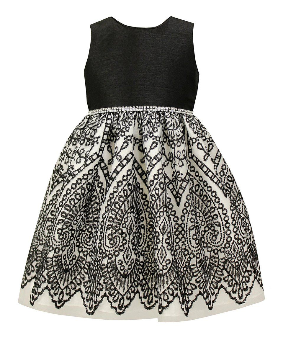 Take a look at this black u white abstract aline dress toddler