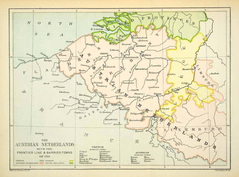 1894 Print Map Austrian Netherlands Flanders United Provinces