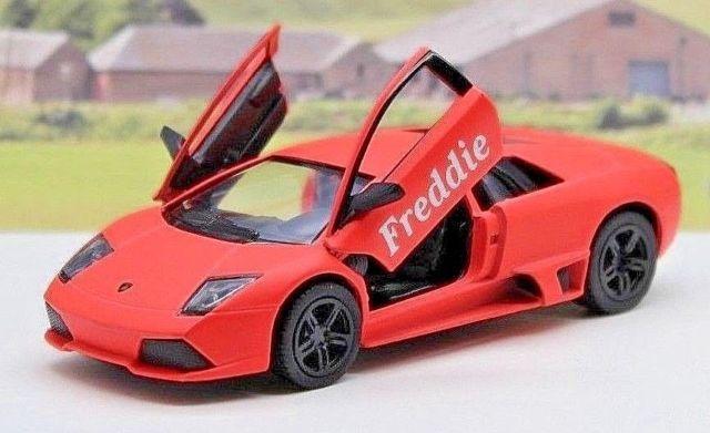 Personalised Name Gift Matte Orange Lamborghini Murcielago Toy Car