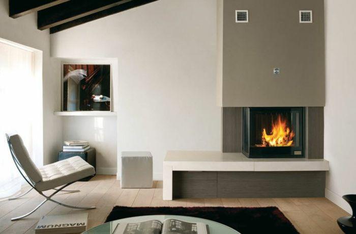 Kaminofen Wohnzimmer Sessel Dunkler Teppich | Kaminofen Als ... Wohnzimmer Modern Mit Ofen
