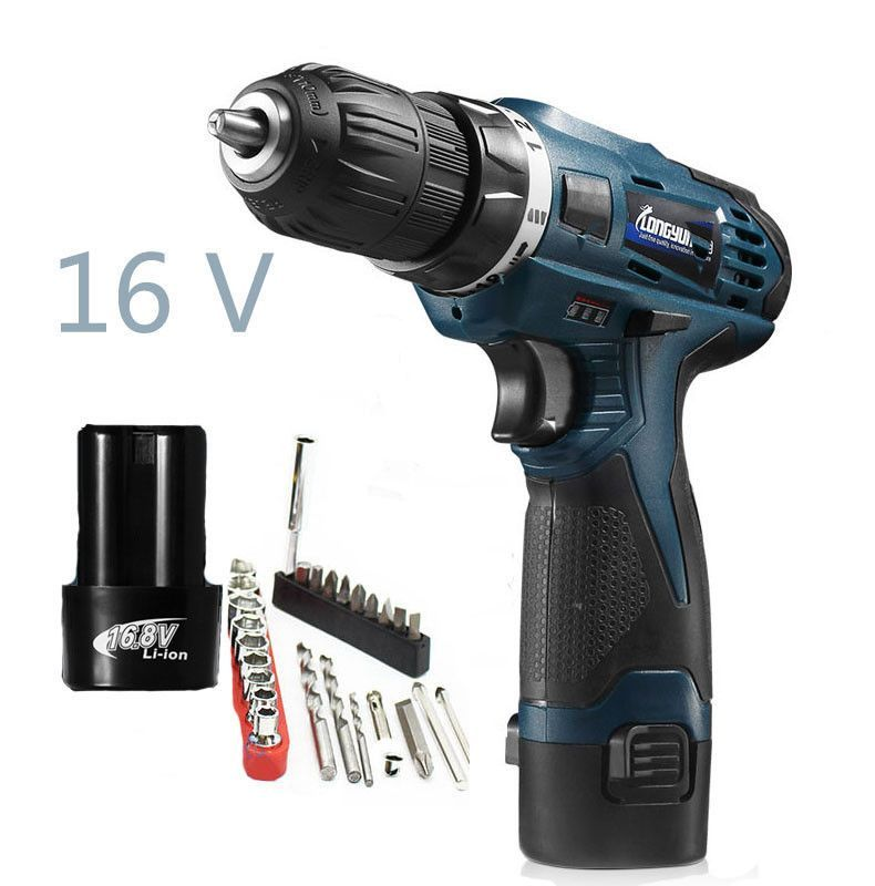 16v Multi Function Screwdriver Power Tools Lithium Battery Rechargeable Electric Drill Waterproof Household Electric Tool Drill Electric Hand Drill Electric Drill