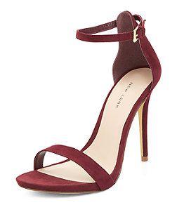 6757213df33 Dark Red Suede Ankle Strap Heels | New Look | Rebecca's Board ...
