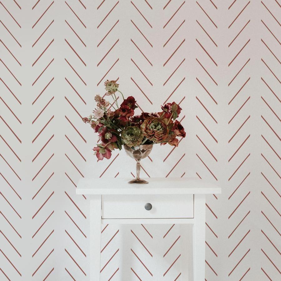 Modern Delicate Herringbone Wallpaper In Clay Color