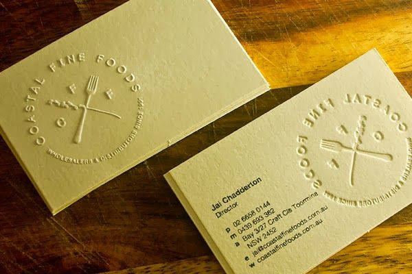 Embossed business cards httpvillageinvitesutmsource branding for coffs harbour based fine food wholesalers coastal fine foods letterpress cards with blind emboss and hand stamped details reheart Gallery