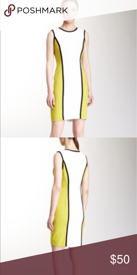 8c05f79cf65 Calvin Klein white and lime green dress size 8 Great condition. Worn once. Calvin  Klein Dresses Midi