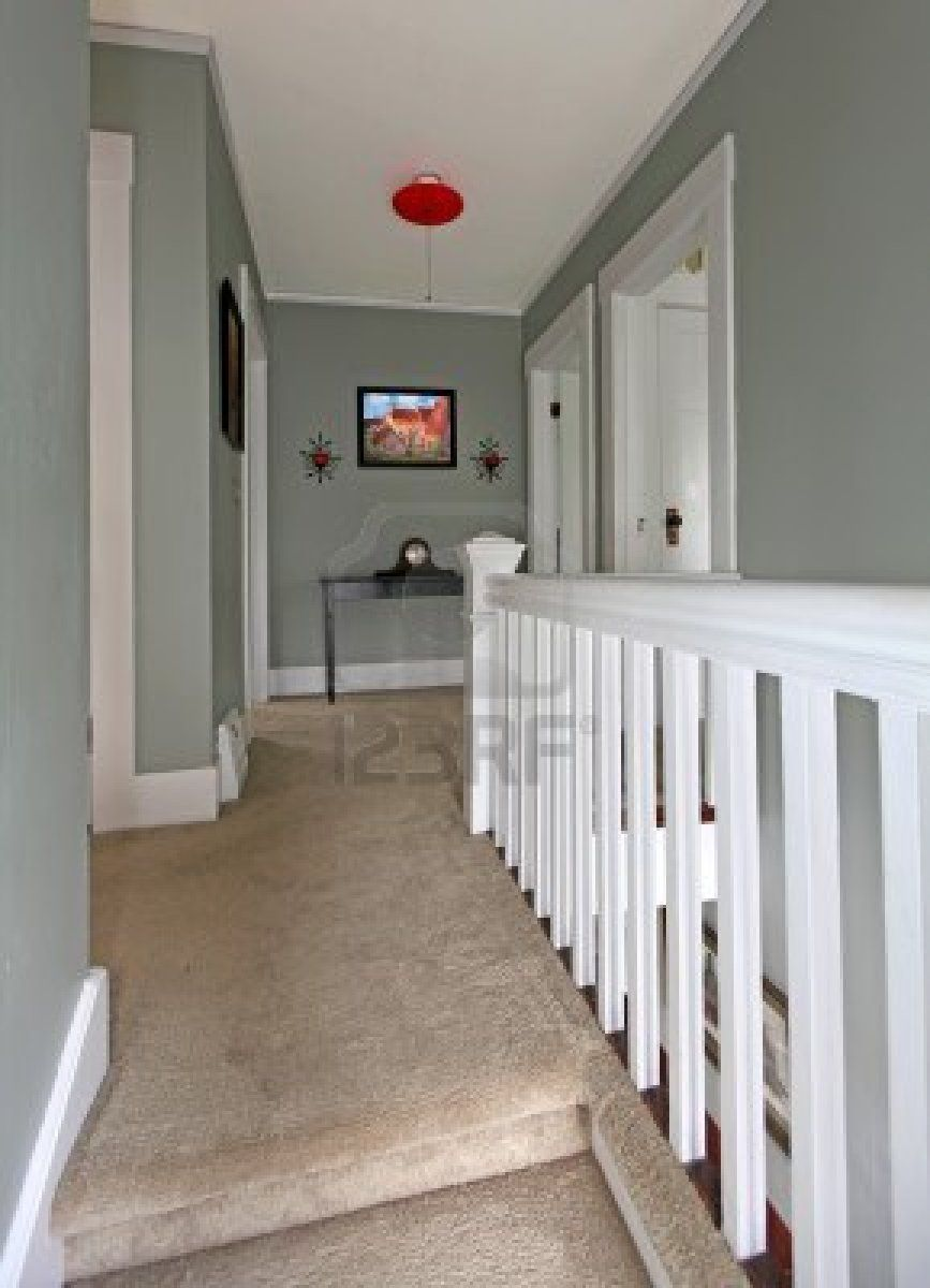 Grey upstairs hallway with white railing and beige carpet for Grey wall ideas