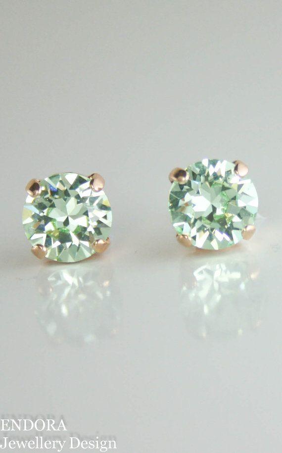 Mint Earrings Stud Green Crystal Swarovski