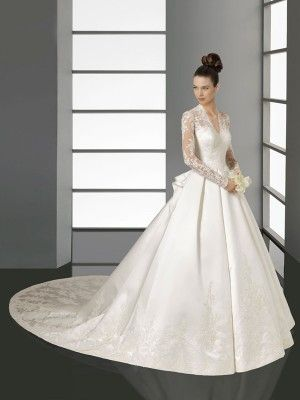 A-line/Princess V-neck Long Sleeves Lace Chapel Train Satin Wedding Dresses - Ivory Wedding Dresses - Wedding Dresses
