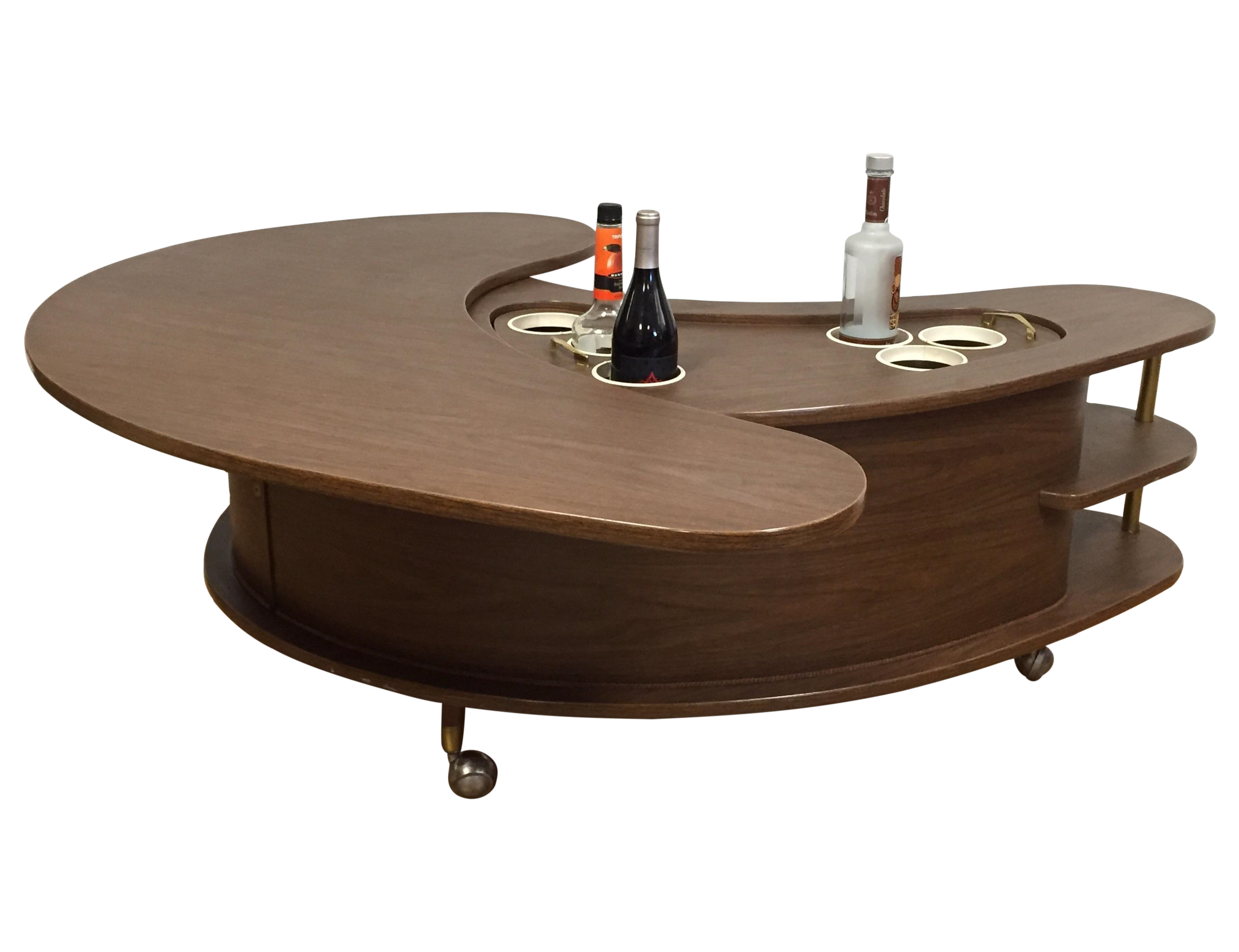 Mid Century Kidney Shaped Bar Cart Coffee Table On Chairish Com