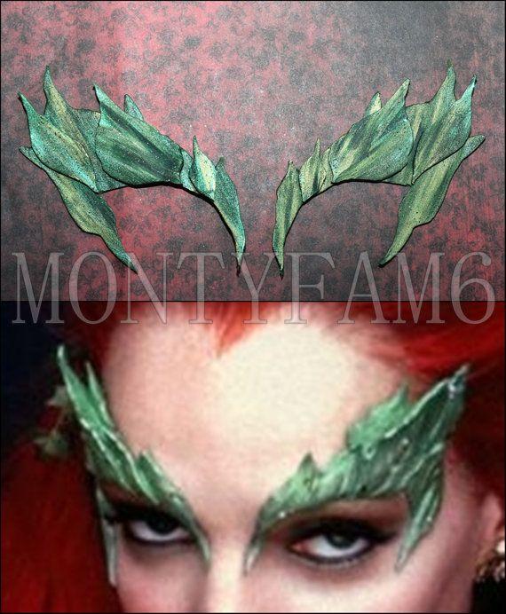 Poison Ivy Leaves Eyebrow Eye Mask Green Blend Dusted W Glitter Leaf Uma Thurman Elf Fairy Ivy Costume Poison Ivy Costumes Poison Ivy Makeup