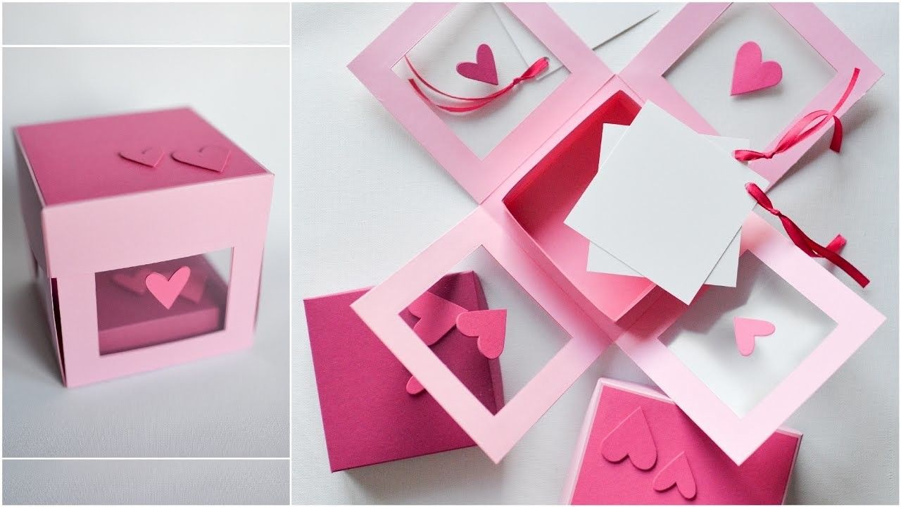 Tremendous How To Make Transparent Exploding Box Hearts Step By Step Diy Funny Birthday Cards Online Fluifree Goldxyz