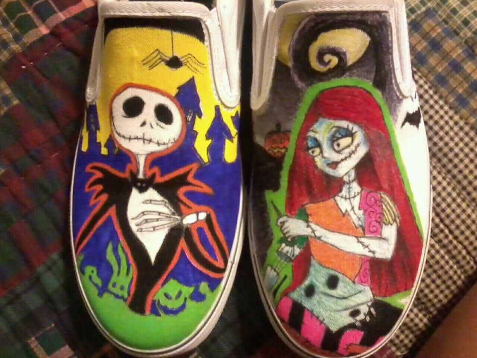 Nightmare Before Christmas Shoes Diy.My Nightmare Before Christmas Jack Skeleton And Sally Custom