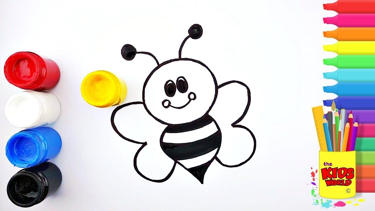 Honey Bee And Scooter Drawing And Coloring Pages For Kids Toddlers Lea Coloring Pages For Kids Scooter Drawing Drawings