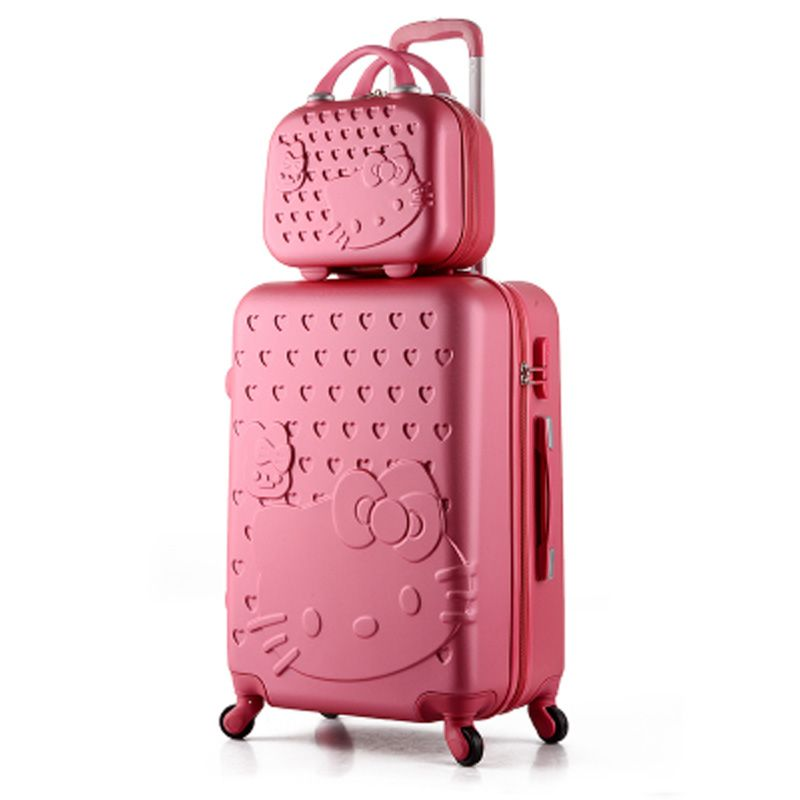14 24 inch Pink Women Cartoon Hello Kitty Suitcase Set,Spinner ...