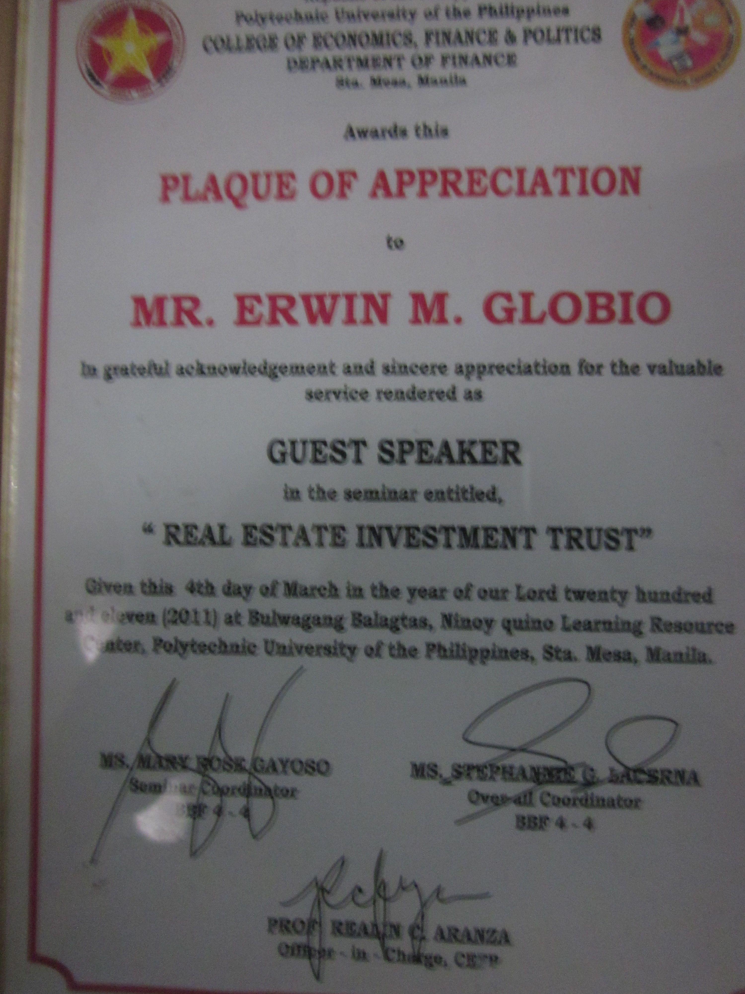 Prof erwin globios certificate of appreciation resource erwin globios certificate of appreciation yelopaper Gallery