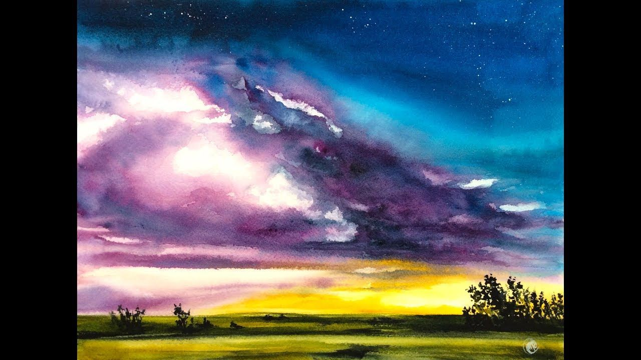 Watercolor Purple Clouds Painting Demonstration Youtube With