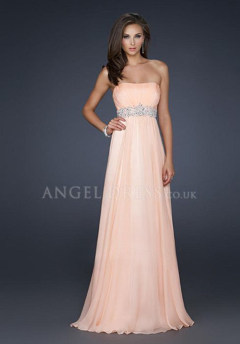 Strapless A line Floor Length Empire Chiffon Sleeveless Prom Dress ...