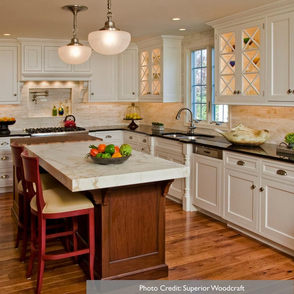 Mix Of Wood Tones And White Cabinets Traditional Kitchen Design Kitchen Layout Home Kitchens