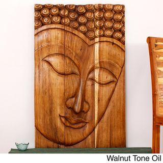 Wood Serene Buddha Walnut Oil Art Panel Thailand Overstock Com