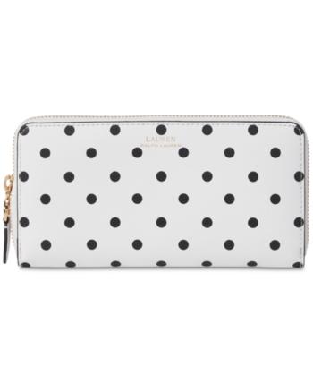 6cfe8b55d16 Lauren Ralph Lauren Dryden Polka Dot Leather Wallet - Optic White ...