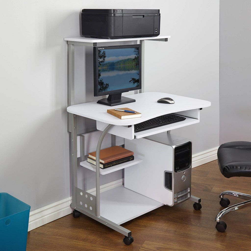 Small Compact Mobile Portable Computer Tower With Shelf Desk