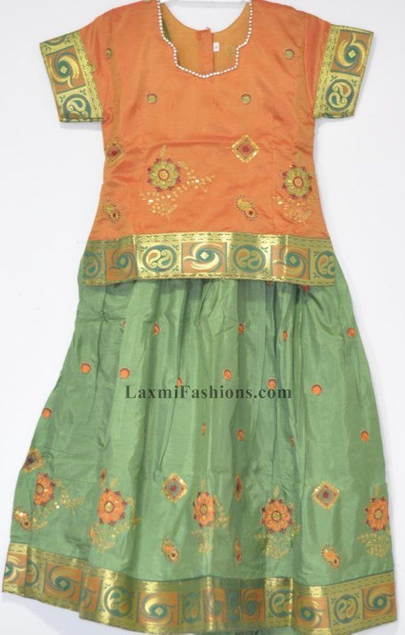 a198cd65594 Kids Baby Green Embroidred Silk Pattu Zari Lehenga Yellow Silk Blouse Choli  - Designer Bollywood Pat