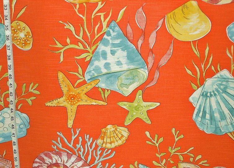 Seashell fabric orange nautilus coral starfish from Brick ...