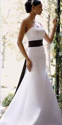 White Black Wedding Dress Simple Yet Elegant Would Not Use Sash Though