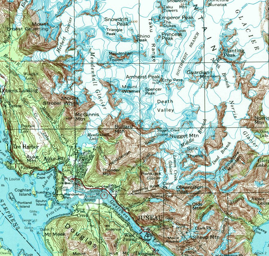 Topographic map of the Juneau area, Juneau Ice Field and