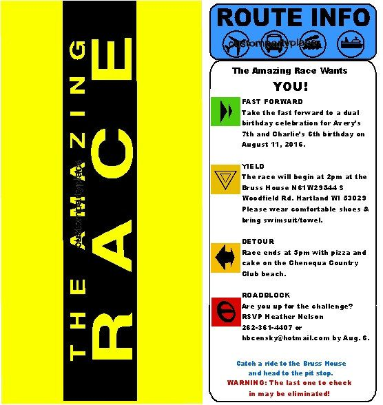 Amazing Race Custom Clue Card Birthday Invitation Amazing Race Party Amazing Race Challenges Amazing Race
