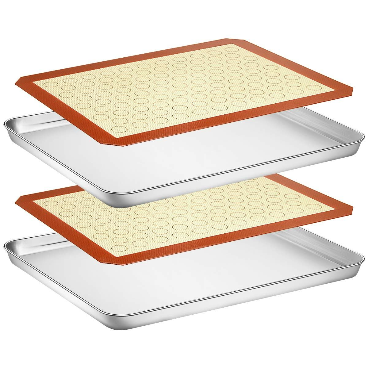 Wildone Baking Sheet With Silicone Mat Set Set Of 4 2 Sheets 2 Mats Wildone Stainless Steel Coo In 2020 Stainless Steel Cookie Sheet Baking Sheet Vintage Recipes