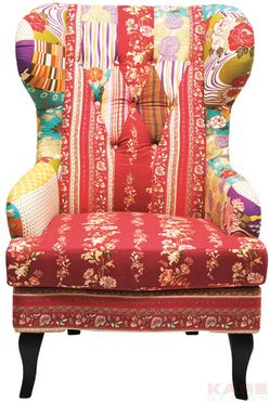 Wing Chair Patchwork Red Ohrensessel Patchwork Ohrensessel Sessel