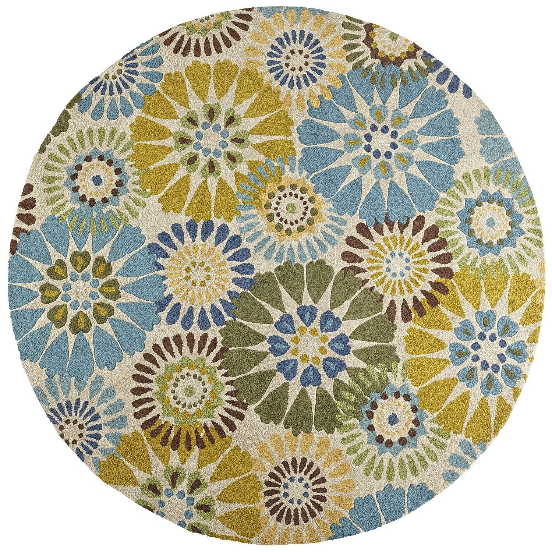 Verna Pinwheel Round Rug - Blue 8'