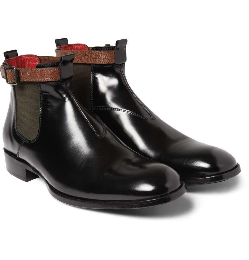 Alexander mcqueen highshine leather chelsea boots