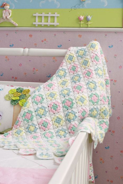 Little granny squares baby blanket with diagrams | Crianças ...