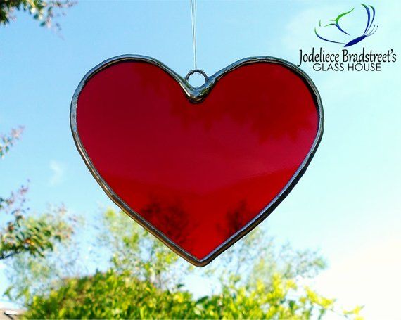 4a812ccdde14 Stained Glass Suncatcher Red Heart Window Ornament