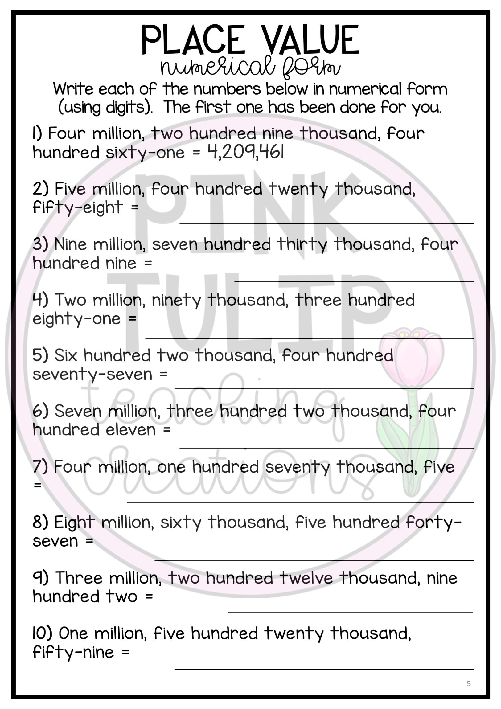 Place Value Into The Millions