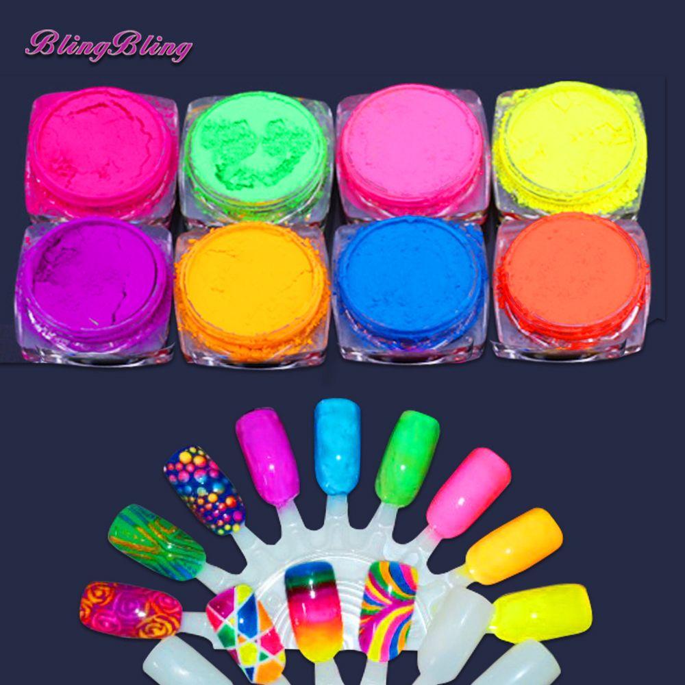 8 Pudelka Ombre Paznokci Brokat Gradientu Neon Pigment Nail Pylu