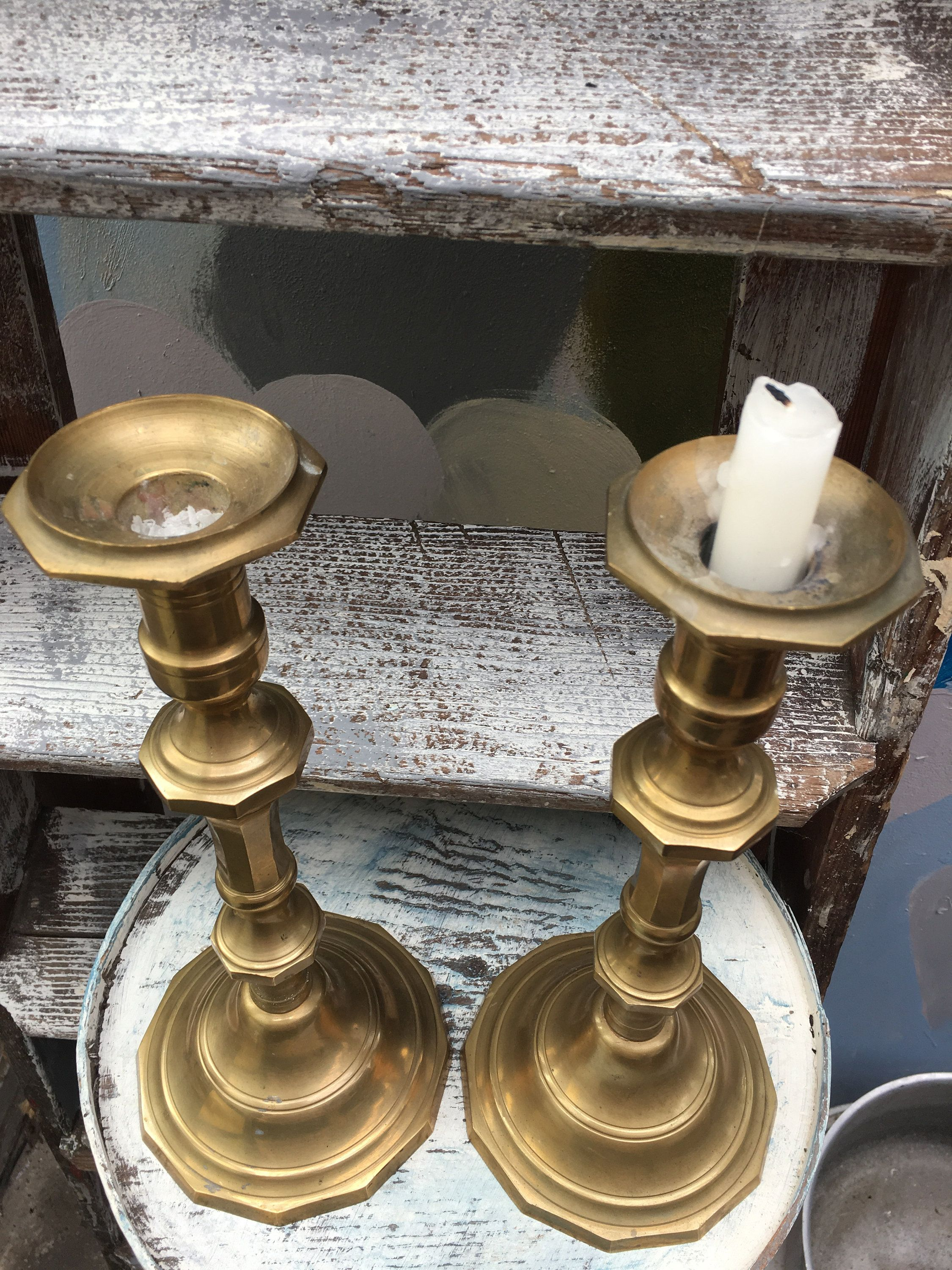 Vintage Brass Candlesticks Found In France Handmade Beaded Jewelry Etsy Hand Painted Signs