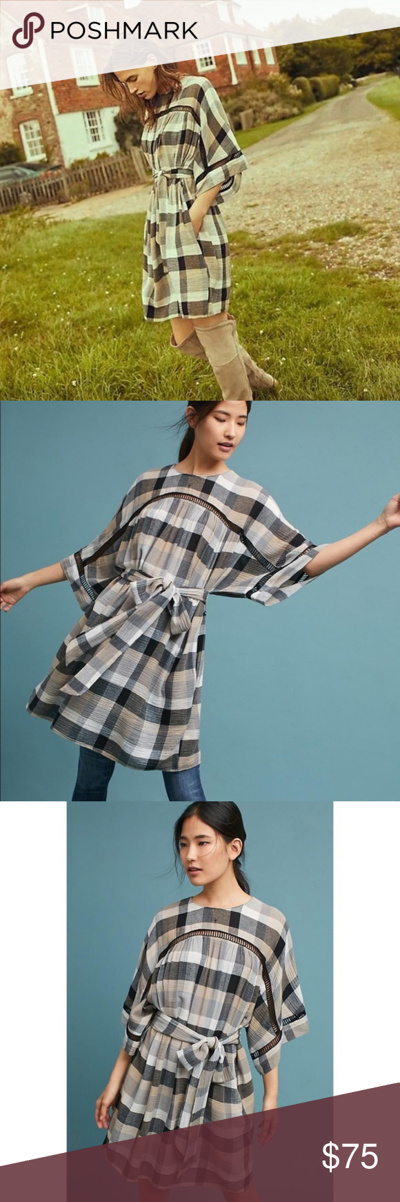 5908d216f557 ANTHROPOLOGIE Tie Waist Kimono Tunic Dress {FF30} Pair this plaid tunic  dress with over