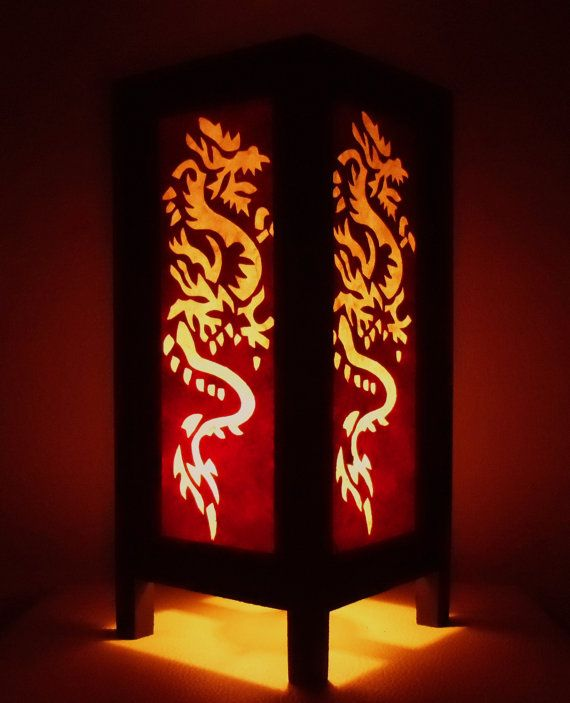 Thai Handmade Asian Oriental White Red Dragon Paper Lamp Shade