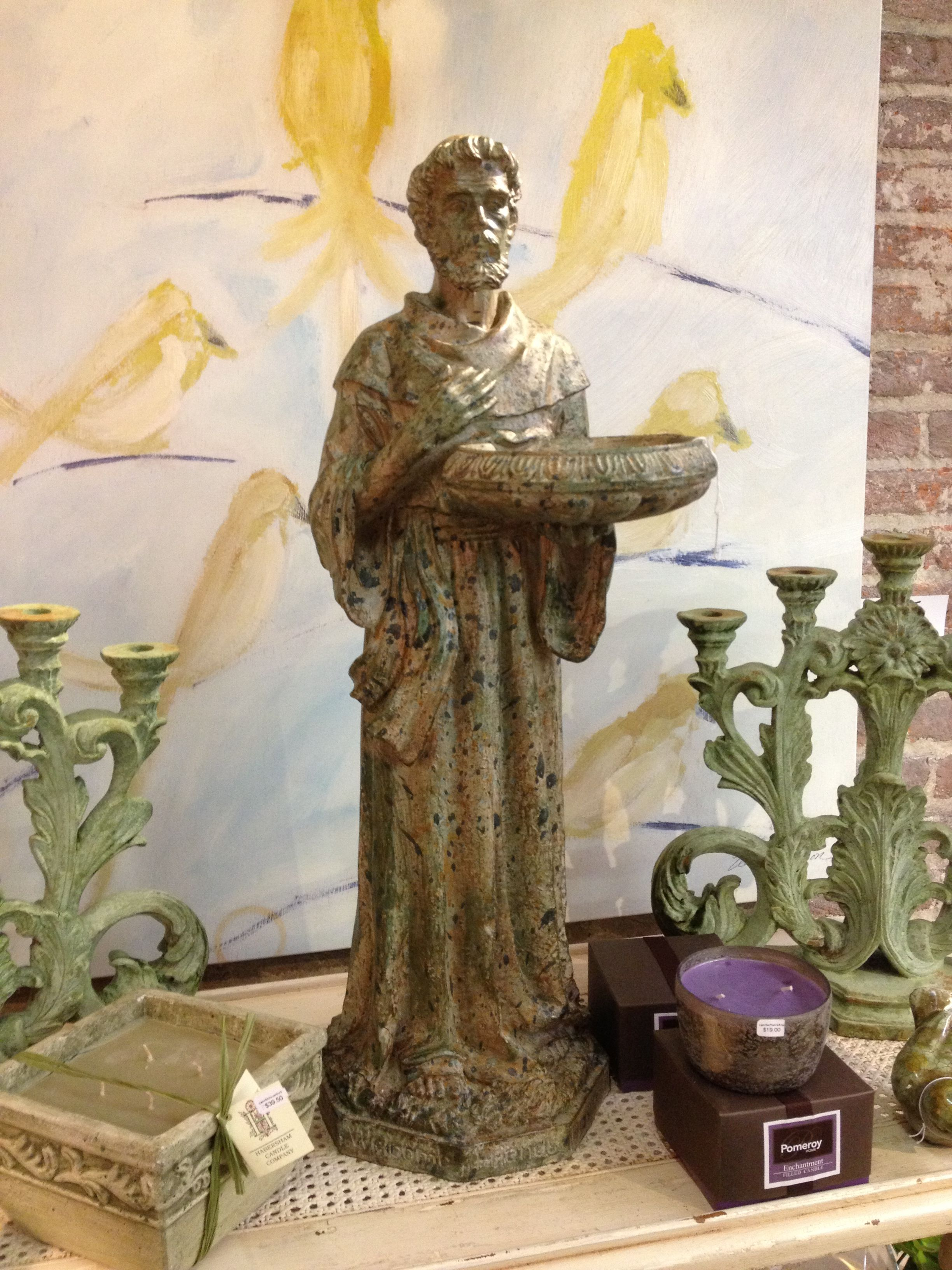 """St. Francis Statue w/ small bird bath. 30"""" tall. Only $132.00."""