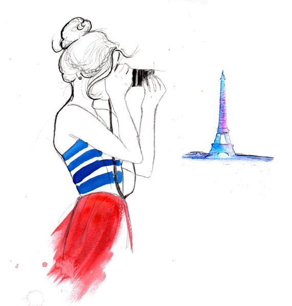 Girl About Paris print from original di JessicaIllustration
