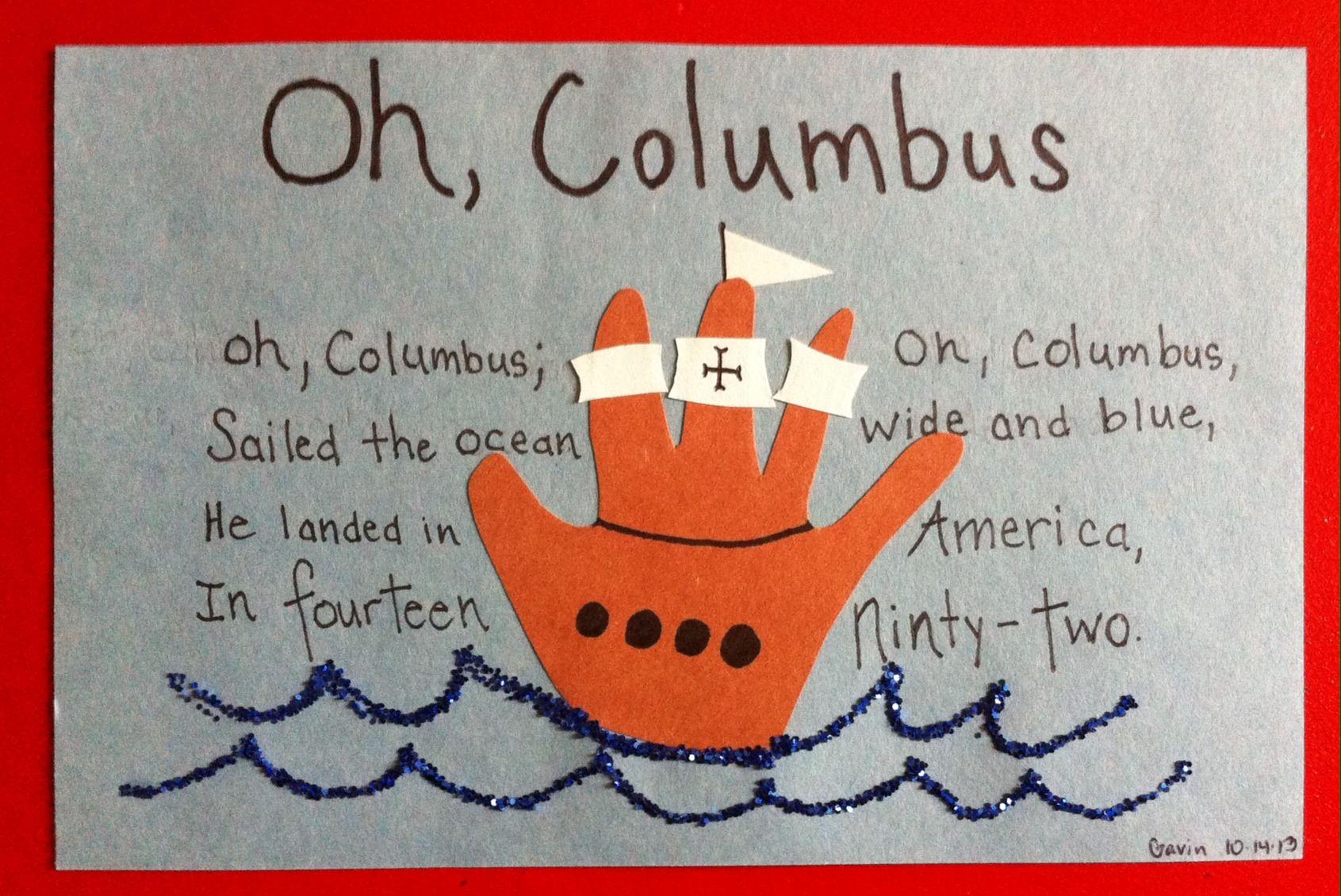 Handoutline Or Fingerprint Columbus Day Craft