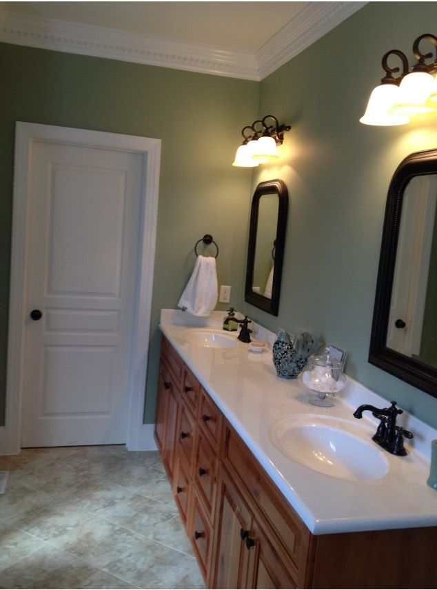 Sherwin Williams Clary Sage Paint Color In A Bathroom